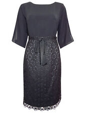 Adrianna Papell Navy Dress with Chiffon Blouson Top & Lace Skirt