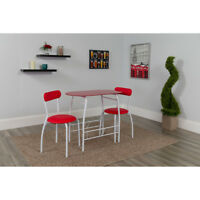 3 Piece Space-Saver Bistro Set with Red Glass Top Table and Red Vinyl Chairs