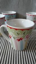 Vtg Retired Mary Engelbreit Green Cherry Blossom Mug Cup Cherries - 2 Available