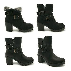 Womens Fur Lined Mid Block Heel Buckle Suede Leather Winter Biker Ankle Boots