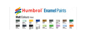 Humbrol 14ml Tin of Matt Enamel Paint #23 thru #206 Your Choice of Color