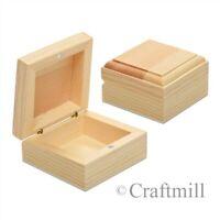 Wooden Jewellery Trinket Box Blank Magnetic Clasp 6x6x3cmcm