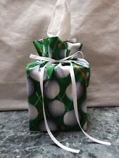Lots of Golf Balls &Tees on green Cotton Fabric Handmade square Tissue Box Cover