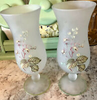 """Vintage Pair of Pedestal Vases frosted white satin w Pale Yellow flowers 8 1/4"""""""