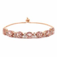 "925 Silver Rose Gold Plated Morganite Quartz Topaz Bracelet Size 7.25"" Ct 14.8"