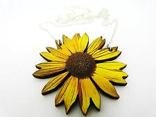 """VIBRANT YELLOW STATEMENT WOODEN SUNFLOWER SILVER NECKLACE PENDANT 18"""" B"""