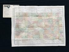 SOUTH DAKOTA Original 1920s HUGE FOLDING MAP POSTER Index Book, Rand McNally