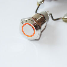 1 Latching Push Button Power Switch 16mm 12V LED Stainless Steel Orange