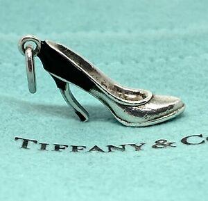 Tiffany & Co Silver Enamel Blue Black Enamel Plum Heel Shoe Charm Pump. Pouch