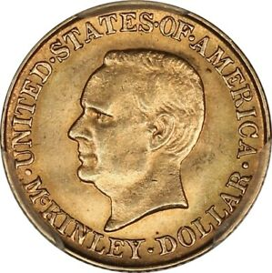 1916 Choice BU PCGS MS63 CAC McKinley Commemorative Gold Dollar - Lustrous!
