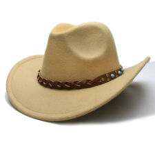 0e8777f67d5e1 Kid Child Wool Felt Western Cowboy Hat Wide Brim Cowgirl Braid Leather Band  54cm