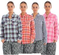 Ladies 100% Cotton Casual Check Shirt Long Sleeve Pockets Collar Buttons Blouses