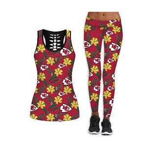 Kansas City Chiefs 2PCS Women's Tank Tops Fitness Leggings Yoga Pant Sport Suit