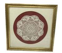 "Vintage 12"" x 12"" Professionally Framed Crocheted Crochet Lace Doily Doilie Tat"