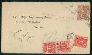 Mayfairstamps Argentina 1940s To Peoria IL Postage Due Short Paid cover wwp79503