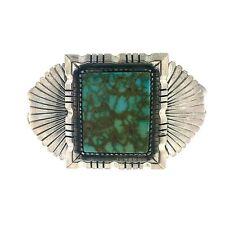 Stunning Zuni Tim Beduh Sterling Silver Lime Green Turquoise Bracelet Cuff