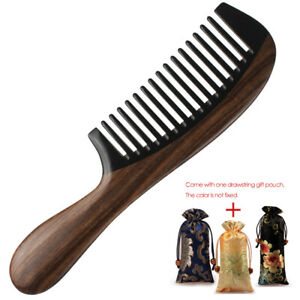 """Premium Wooden Hair Comb Wood & Buffalo Horn Combs Handcrafted Sturdy Smooth 8"""""""