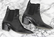 ALL SAINTS MENDIP Black Leather Cuban Chelsea Pointed Ankle Boots, Size 40, UK 6