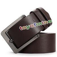 Men's Casual Dress Faux Leather Belt Pin Buckle Belts Waistband - Black/Brown