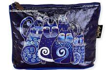 Laurel Burch Indigo Cats Foiled Organizer Bag Makeup Art Craft Meds NEW