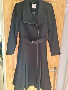 Jasper Conran Long Length Womens Coat Fit And Flare Size 12 Black