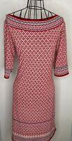 Ladies MAX STUDIO  Red Cream Aztec Patterned Tunic Dress XL 16 18