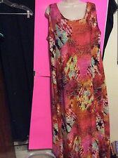Womens Plus Avenue 18/20 2X Long Colorful Summer Dress Sleeveless Nice Stretch