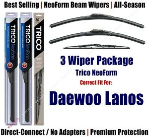 3-Pack Wipers Front & Rear - NeoForm - fit 1999-2002 Daewoo Lanos 16190x2/30190