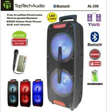 "TOP TECH AUDIO Fully Amplified Portable 2500 Watts Peak Power 2X8"" Speaker"