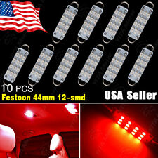 "10X RED 44mm 1.73"" 12-SMD Festoon Rigid Loop LED Bulbs Light 561 562 563 564 566"