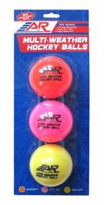 A & R Multi Weather Street Hockey Balls, Roller Hockey Balls Pack of 3