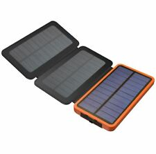 3 Panel Folding Solar Charger and Power Bank-2 USB Outputs, 10000mAh Battery