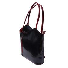 Schultertasche Rucksack Leder schwarz Handtasche wandelbar DrachenLeder Otf106s