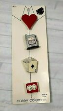 Vintage Casey Coleman Gambling Button Covers Set of 4 Dice Cards Slots Heart