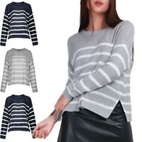 Womens Oversized Jumper Ladies Contrast Horizental Stripes Knitted Pullover Top