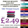Luxury Non-Iron Percale Fitted,Flat,Valance Sheet Single Double King & SuperKing