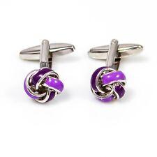 Knot Pair Cufflinks Purple Silver Formal Wedding Gift Box & Polishing Cloth