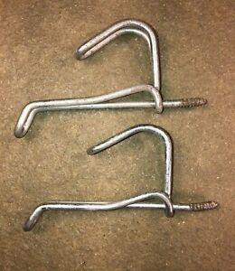 """2 Vintage Antique Twisted Wire Coat Hat Hooks Screw in Style 3"""" Farmhouse Rustic"""