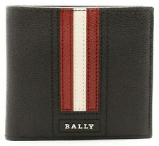 Bally Trasai Men's Black Embossed Bovine Leather Wallet Made in Italy NIB