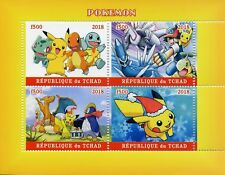Chad 2018 MNH Pokemon Pikachu Bulbasaur Squirtle 4v MS Cartoons Animation Stamps