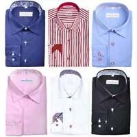 Mens Premium Designer Formal Regular Fit Dress Shirt Contrast Collar Cuff S-4XL