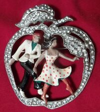 Vintage Rhinestone Enamel Brooch Apple Man Woman Dancers Figural 1940's Jewelry