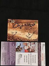 ROGIE VACHON, BOBBY CLARKE, LANNY McDONALD +1 SIGNED AUTO 1992 PRO SET CARD JSA