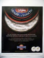 PUBLICITE-ADVERTISING :  LANQUETOT Moulé à la Louche  2015 Fromage,Camembert