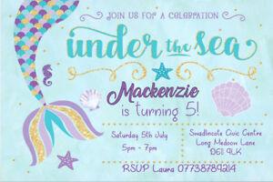 Personalised Mermaid Under the Sea Birthday Party Invites inc envelopes MER5