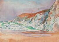 IMPRESSIONIST WAVY COASTLINE Watercolour Painting c1950 SEASCAPE
