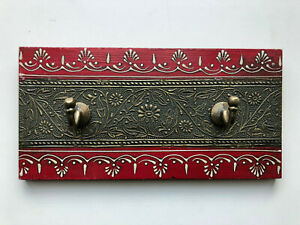 Wooden Hand crafted Red Coloured Hand Painted Wall Hooks - Double Hooks