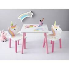 Kids Unicorn Wooden Table & 2 Chairs Set Nursery Bedroom Furniture