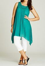 Stunning Free Flowing Ladies Viscose Peak Hem Tunic Size 14- Teal Colour