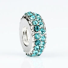 Nice 1pcs Blue CZ Crystal Round Macroporous Interval Charm Bead Fit 925 Bracelet